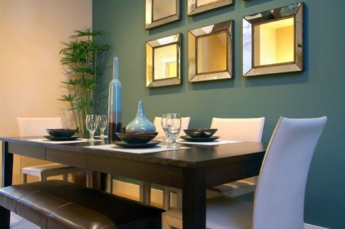 blue and white modern coastal dining room