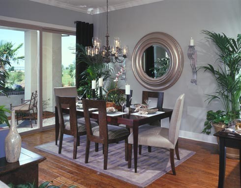 baby blue and brown dining room