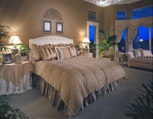 beige and grey blue bedroom