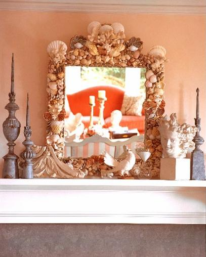 seashell mirror on mantle place