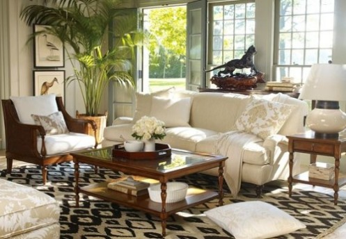 white and brown tropical living room