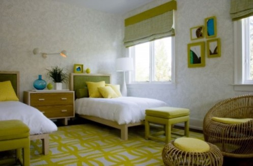 white and green modern retro kids bedroom