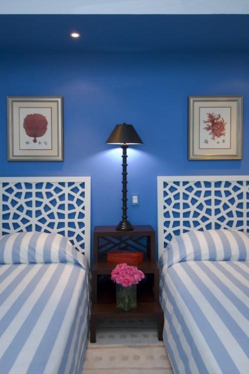 blue white tropical coastal bedroom