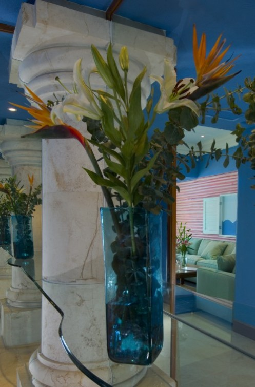 tropical style hall blue white