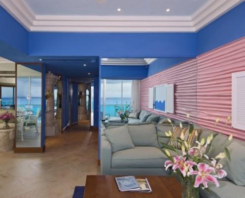 blue pink coastal living room