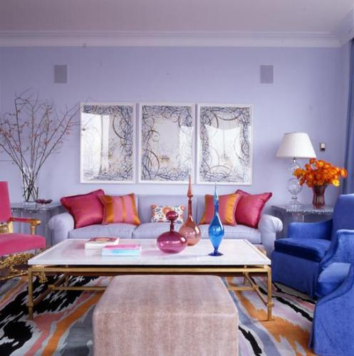 light blue fuschia pink and orange colorful modern retro living room