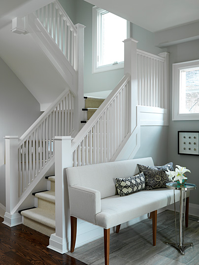grey and white entry hall stairway
