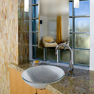 modern beige mosaic tile bathroom sink,