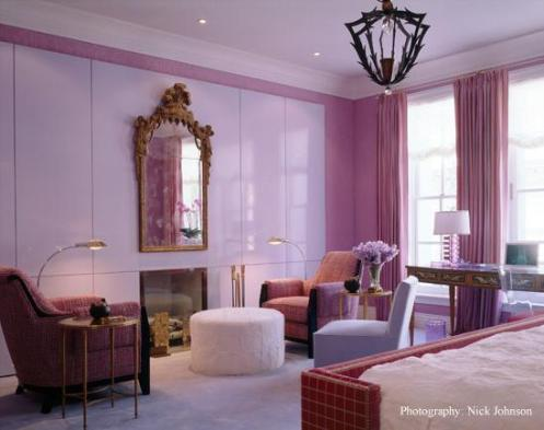 hot pink bedroom with white gold and a black chandelier