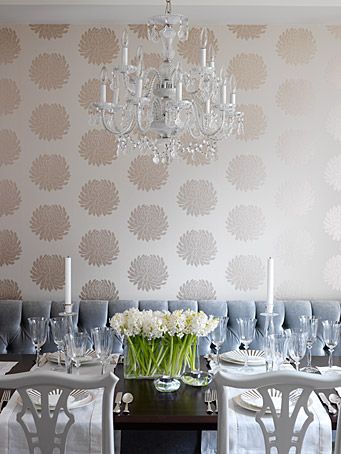 grey modern dining room shiny pearl wallpaper
