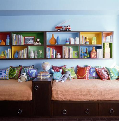 light blue and colorful room