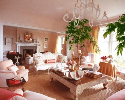 pink and white coastal beachy princess living room