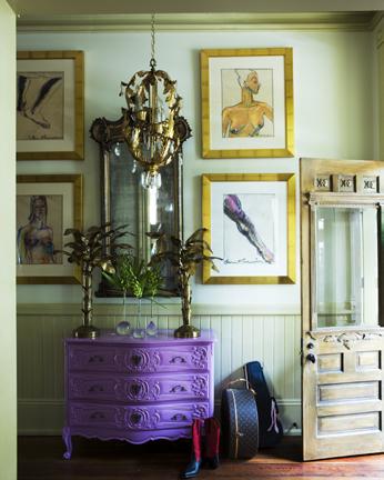 vintage dresser painted purple