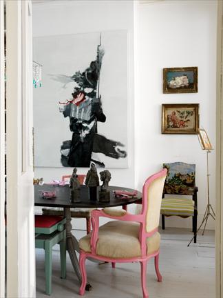 vintage chair painted pink