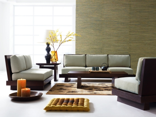 modern living room low couch textured wallpaper