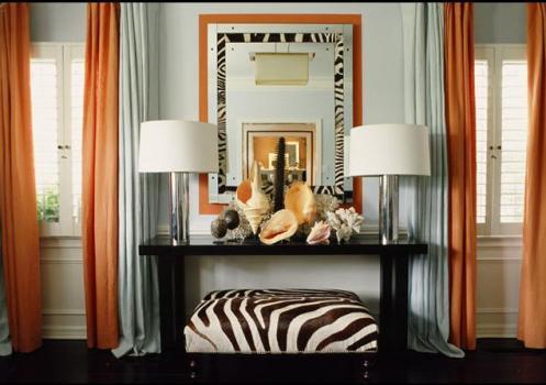 modern room blue orange and zebra print