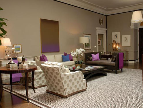 greige living room with purple and blue