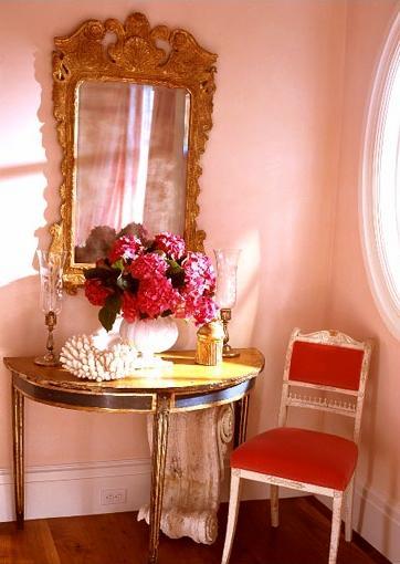 pink side table vanity nook
