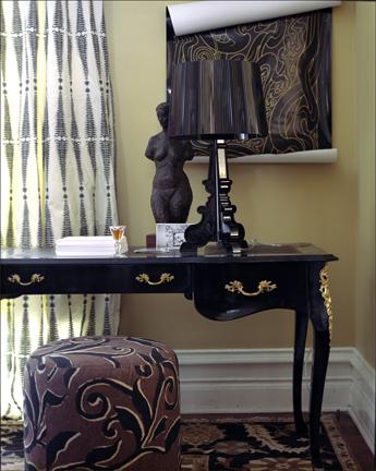 vintage side table painted black