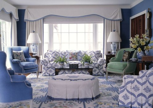 blue and white cottage living room