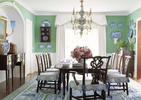 green white cottage style dining room