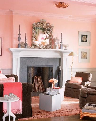 pink and white living room fire place