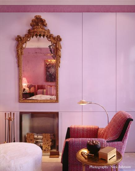 pink bedroom gold baroque mirror frame white ottoman