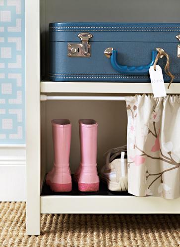baby blue white pink hall shoe storage detail