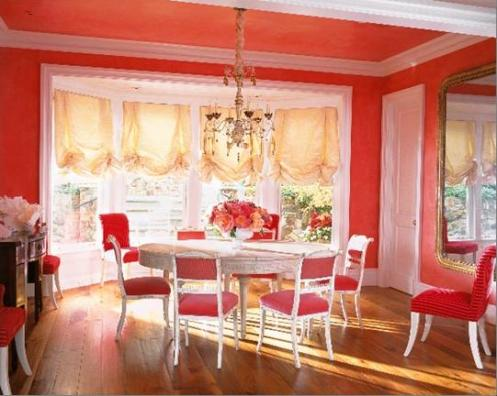 coral pink and white modern coastal dining room