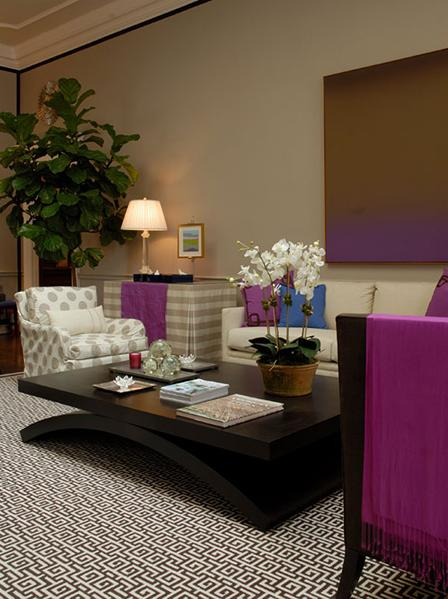 beige and purple modern living room