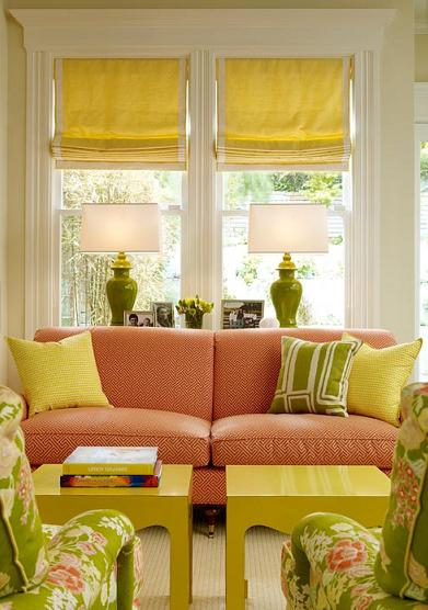 acid green and pink living room