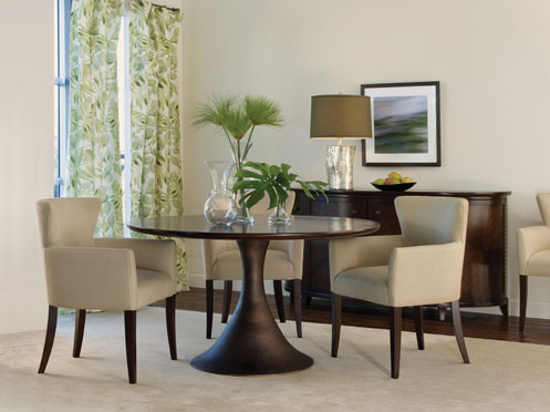 modern liggt dining room round table creams and green