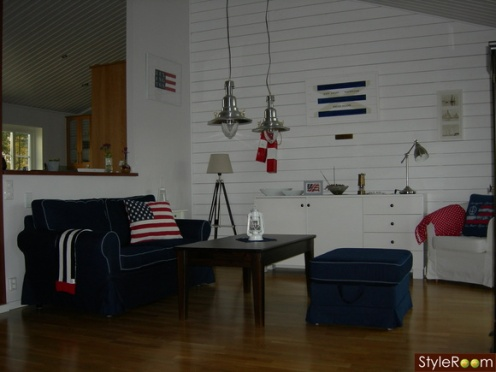 white blue red nautical style living room