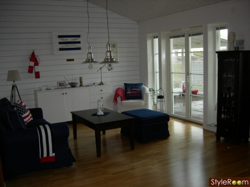 red white blue nautical style living room