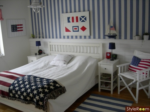 red white blue nautical theme bedroom