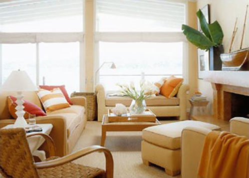 cream and orange living room
