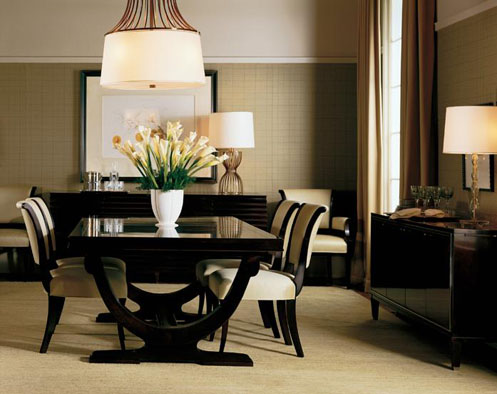 posh dining room interior cream brown beige