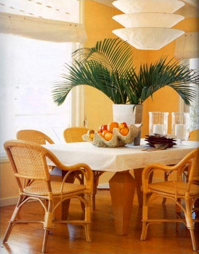 yellow orange and white dining room