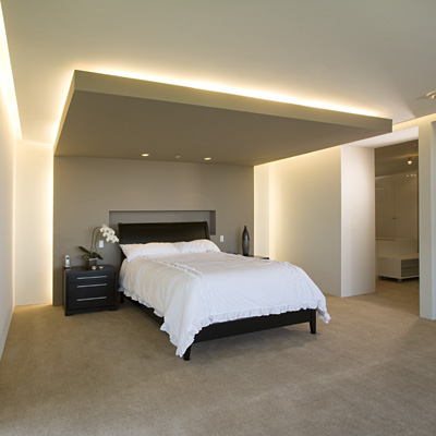 greige and white modern bedroom