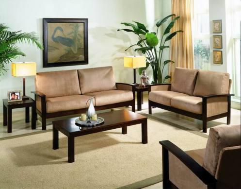 light blue and beige retro living room