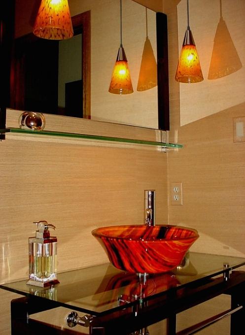 red black beige modern bathroom glass bucket sink