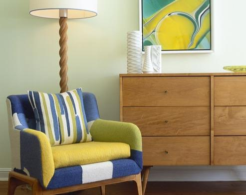 retro living room nook blue green yellow