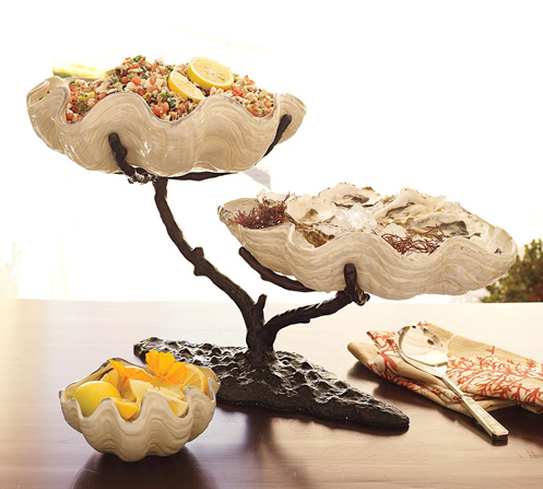 beach style clam shell serving dishes