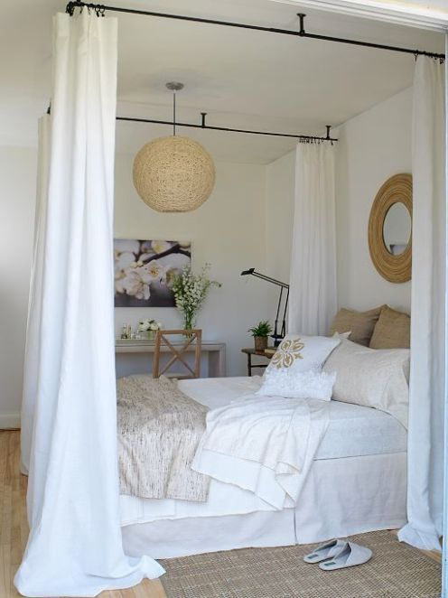white natural fabric bedroom