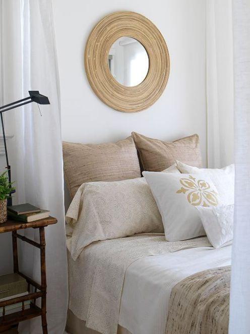 natural linen bedroom rattan mirror