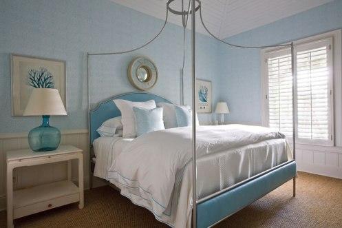 white and baby blue modern coastal beachy bedroom