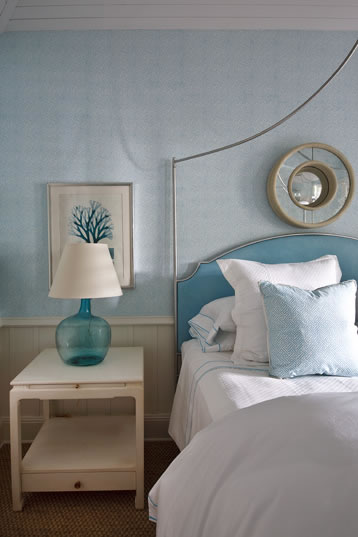 modern white and baby blue bedroom