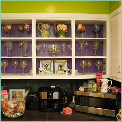 colorful kitchen cabinets green purple white