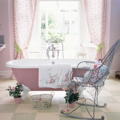 lilac and white bathroom