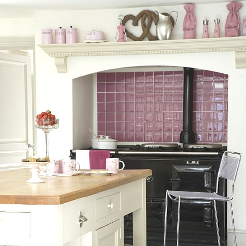 white and lilac purple kitchen